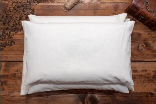 Poduszka z łuską gryki + biała poszewka z naturalnego LNU