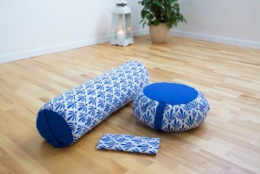 Zestaw do jogi i medytacji SANTORINI - zafu, wałek, poduszeczka na oczy