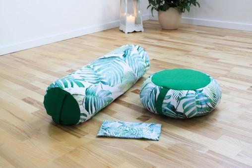 Zestaw do jogi i medytacji TROPIC - zafu, wałek, poduszeczka na oczy