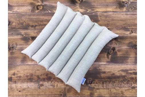 Poduszka do siedzenia lniana z łuską gryki przeszywana